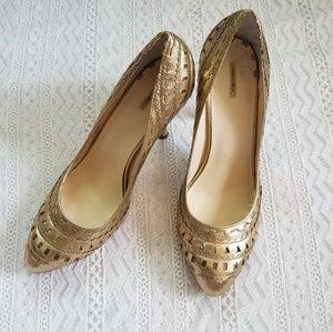 Max Studio Gold Leather Heels Size 10
